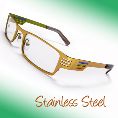Unisex Full-Rim Stainless Steel Glasses w/ Clear Non-prescription Lenses and Wide Temple