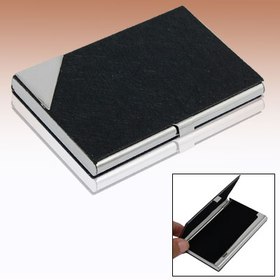 Black Non-slip Leather Metal Name Credit Business Card Holder