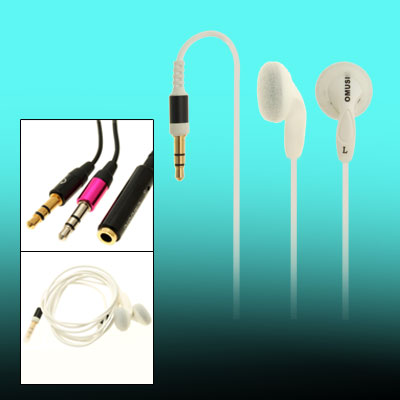 Silvery MP3 MP4 Laptop PC Stereo Earphone w/ 3.5mm connector