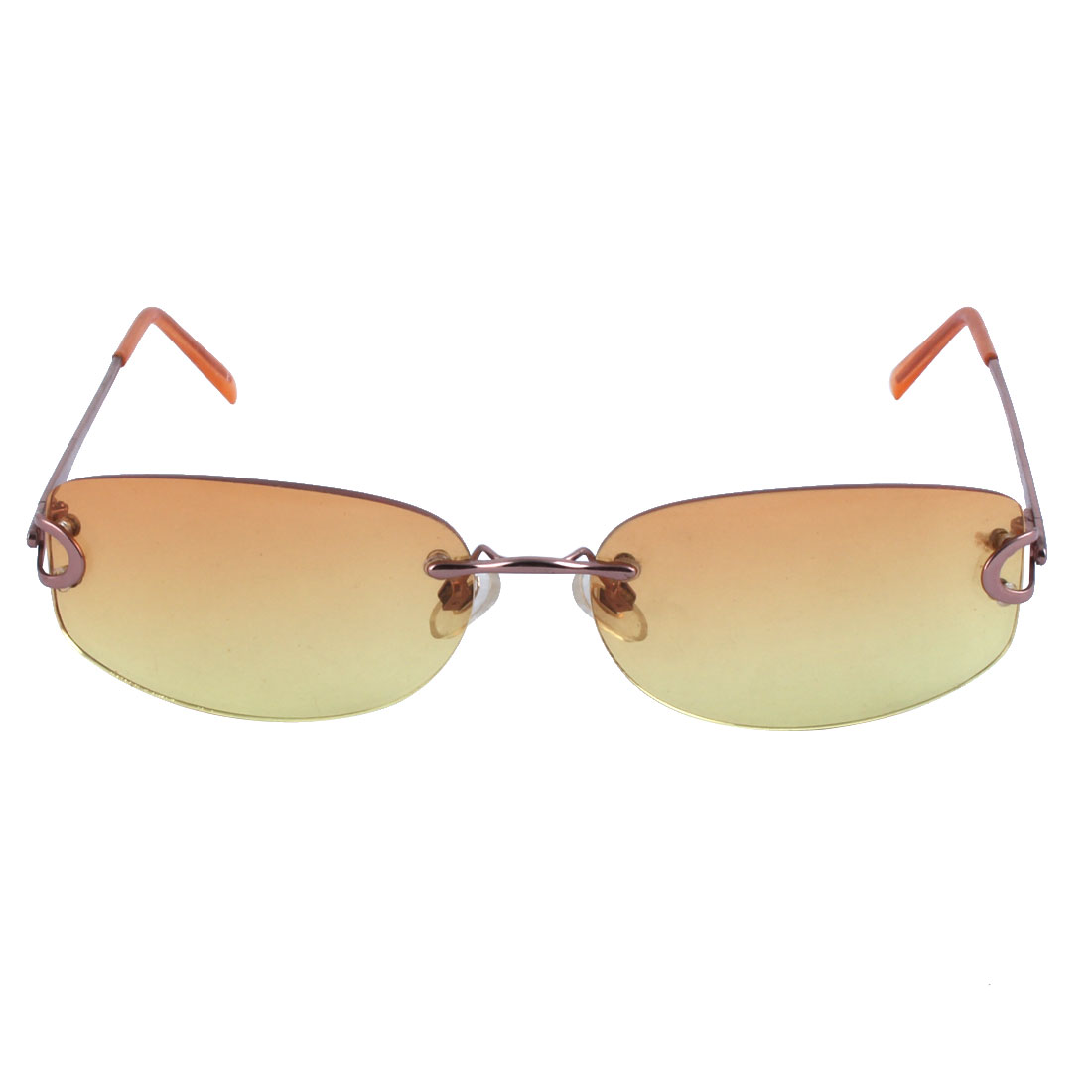 Yellow Brown Lens Plastic Coated Metal Arm Lady's Sunglasses