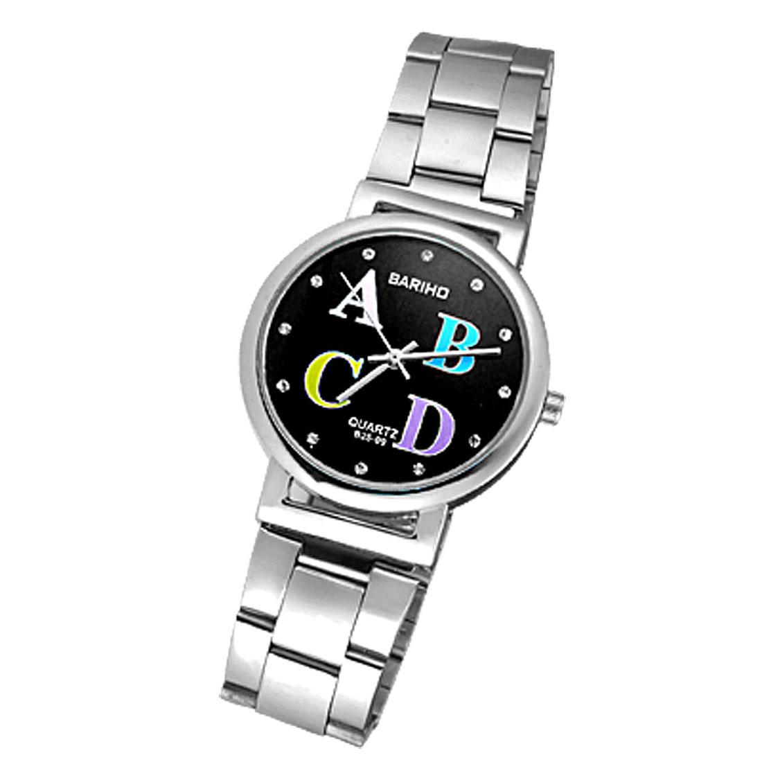 Exquisite Rhinestone Black Dial Alloy Men's Watch
