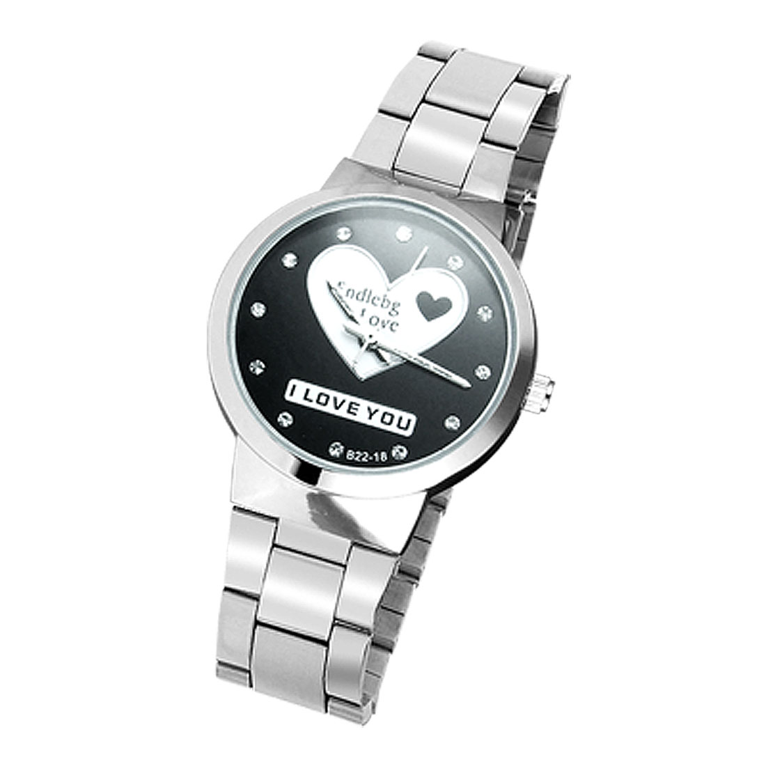 Lover Gift Wrist Watch w. White Heart Black Dial