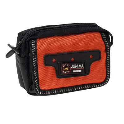 Nylon Waist Shoulder Bag Pouch With 2 Zipper Compartments Orange Black