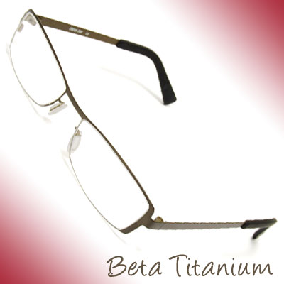 Beta Titanium Full-Rim Spectacle Optical Frame w/Rectangular Lens 49 x 17