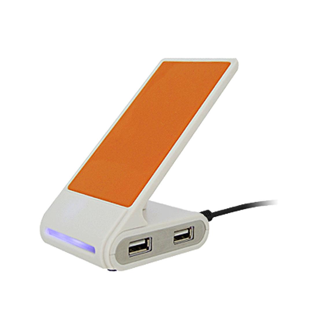 Orange Anti-slip Phone Holder Stand w/ 4 Ports USB Hub