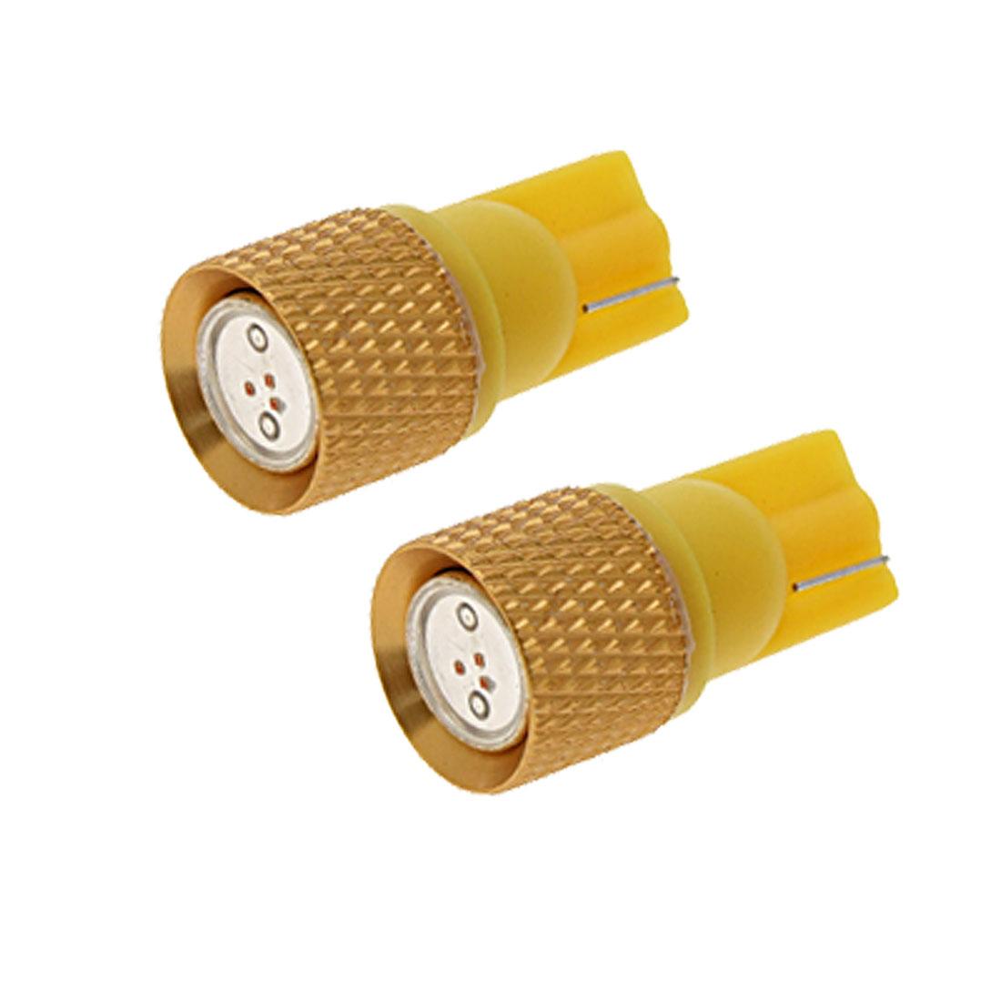 2X T10 Yellow Golden Car Auto Lamp Light Lighting Signal Bulbs 1.5W