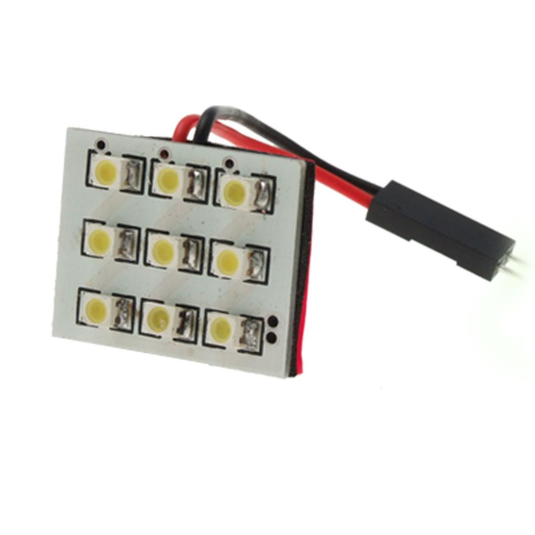 Light Panel White 3528 SMD 9 LED+T10+Dome Festoon Bulb Base