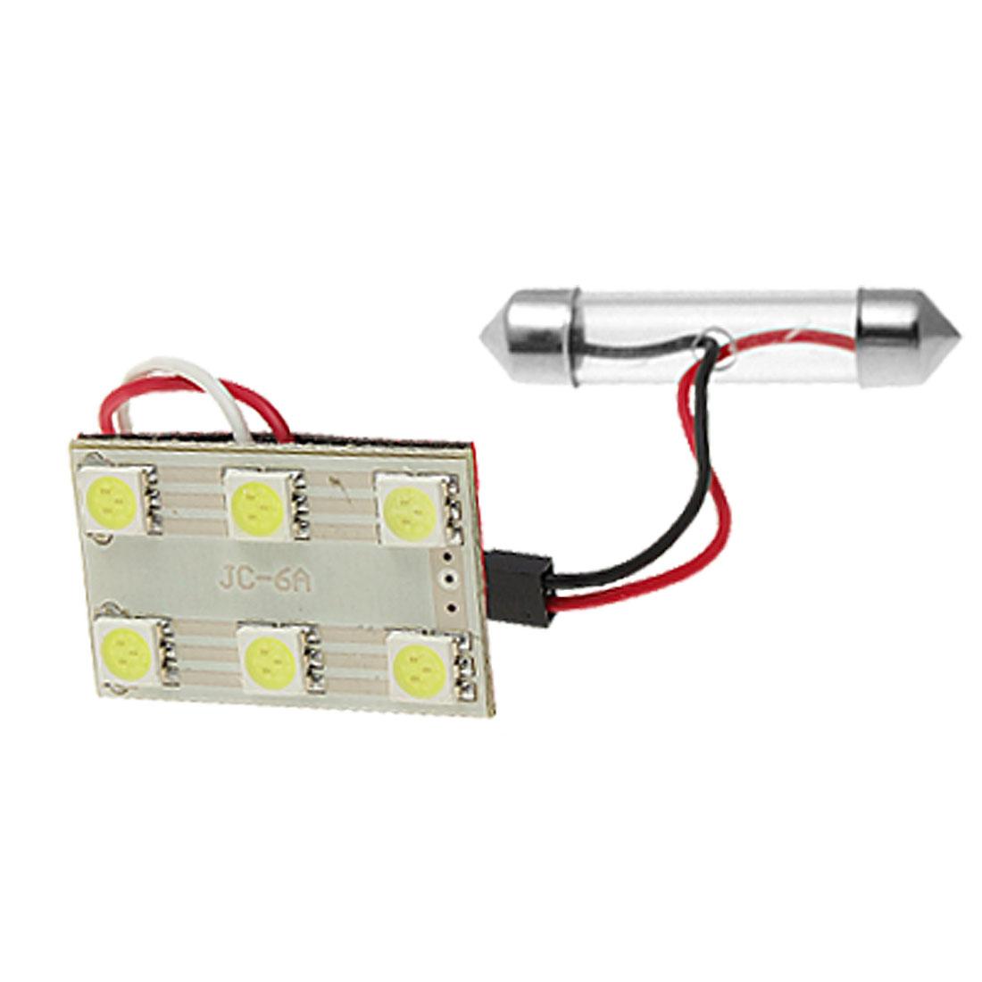 Car White 6 5050 SMD LED Dome Light Bulb T10 Festoon Lamp