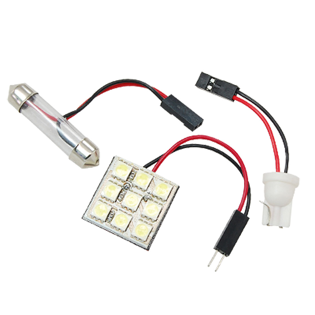 Car 9 5050 SMD LED Interior Dome Light Panel Bulb w T10 Festoon Adapter