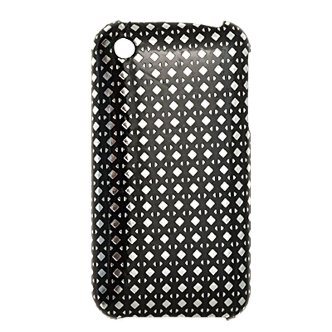 Silvery Black Leather Coated Plastic Back Case Cover for iPhone 3G