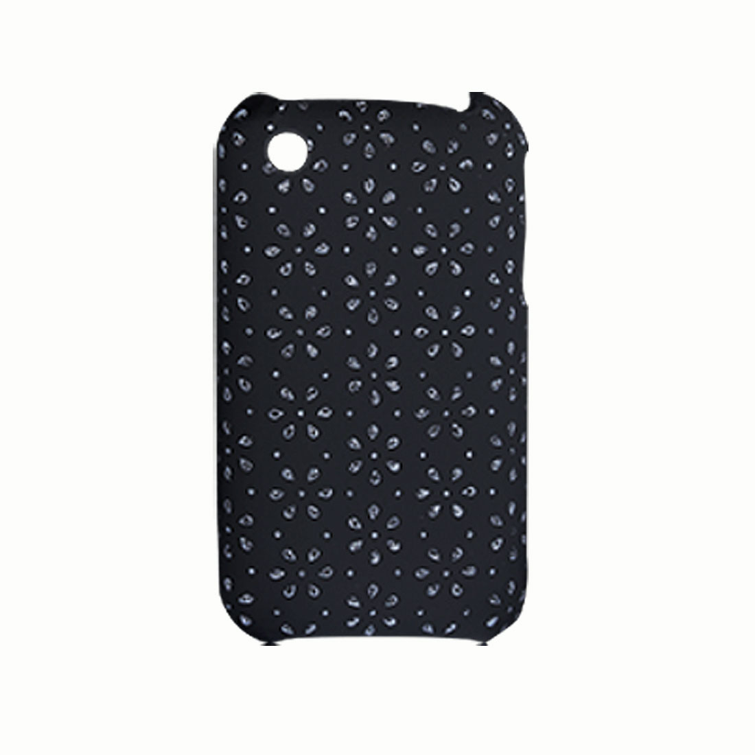 Black Leather Coated Plastic Back Case Cover for iPhone 3G
