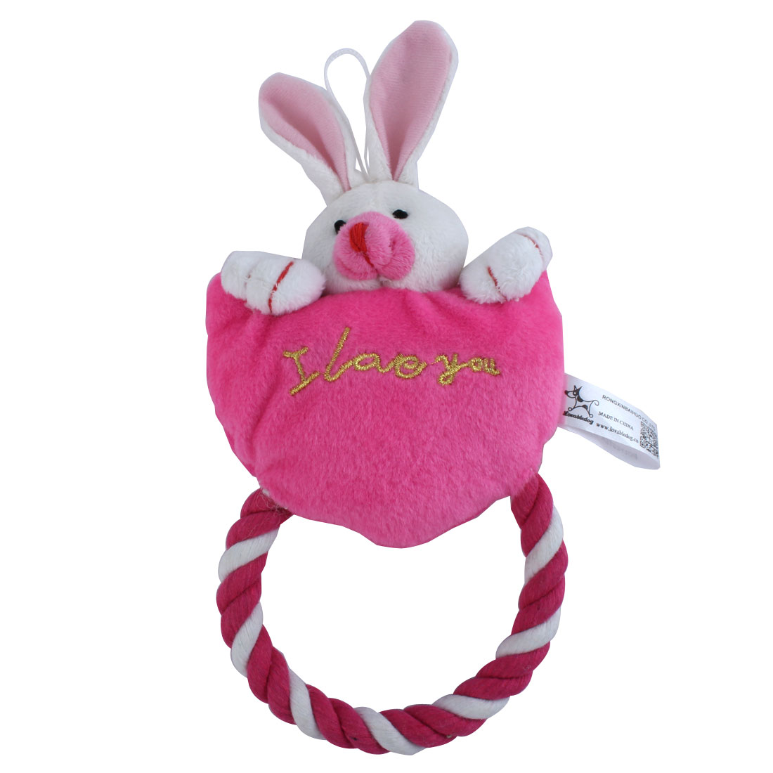 Rabbit Pattern Plush Squeaky Squeaker Toy with Tug Rope for Pet Puppy Dog