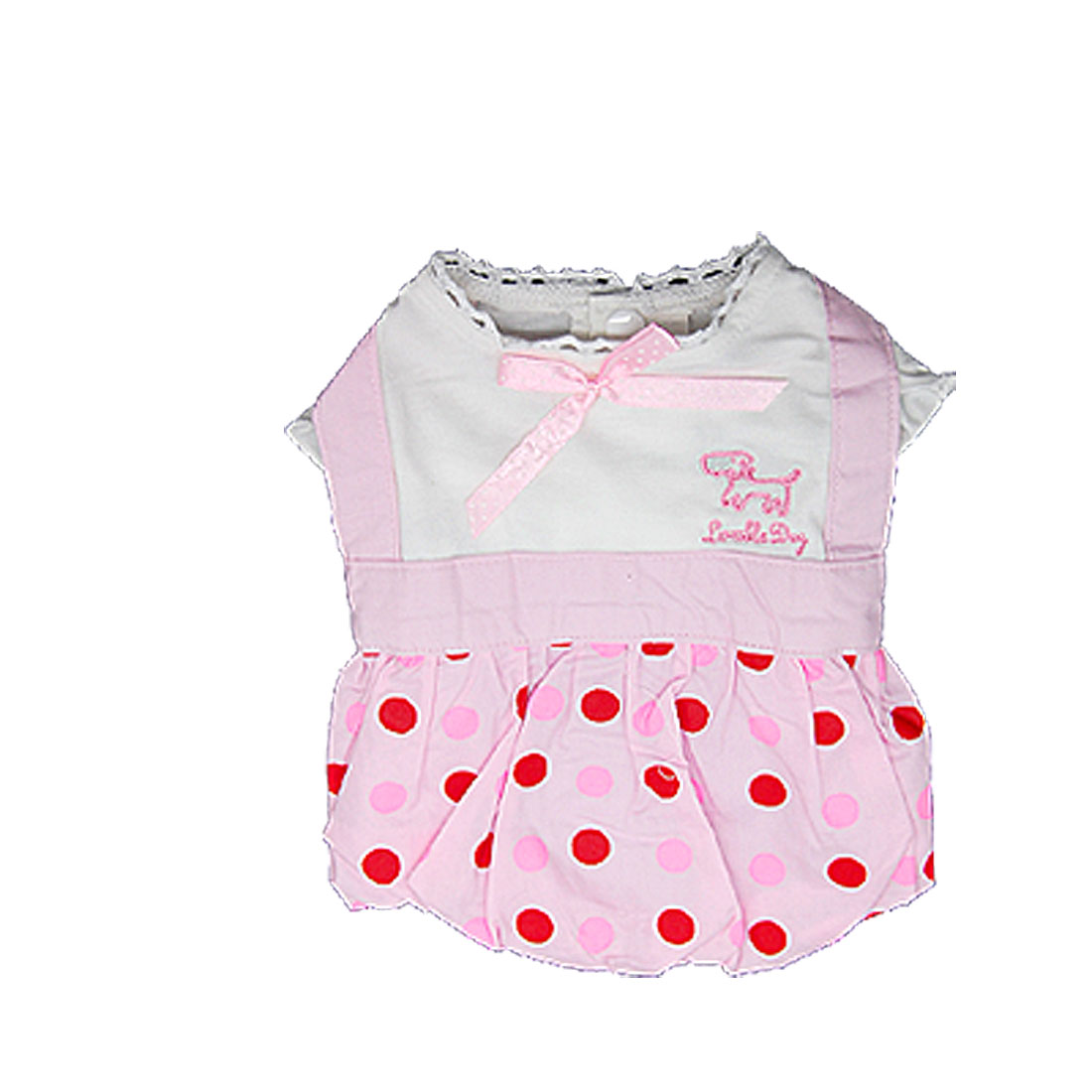 Size 5 Cute Pink Pet Puppy Dog Apparel Polka Dot Dress Skirts Shirts With Scarf