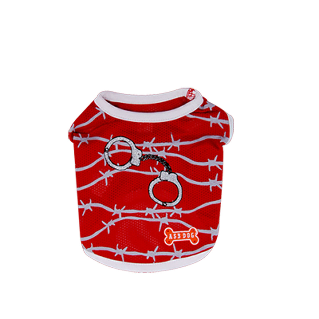Size 4 Red Summer Cool Pet Puppy Dog Apparel T Shirts Vest Clothes Round Neck