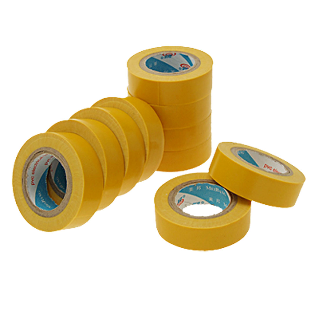 10 Rolls x Yellow 1.6cm Wide PVC Plastic Tape for Electrical Installation