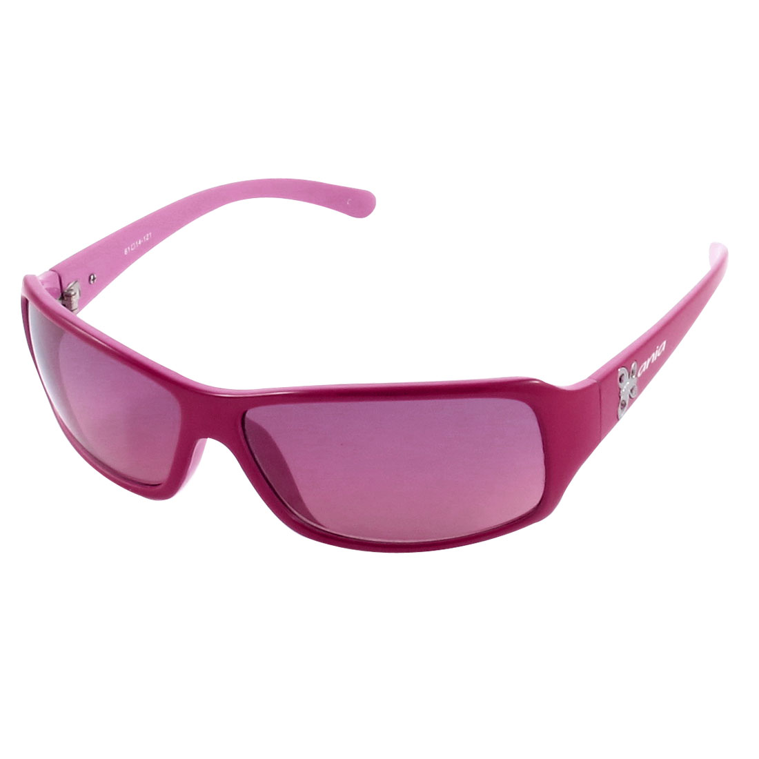 Stylish Fuchsia Frame Plastic Arms Ladies' Sunglasses Eyewear
