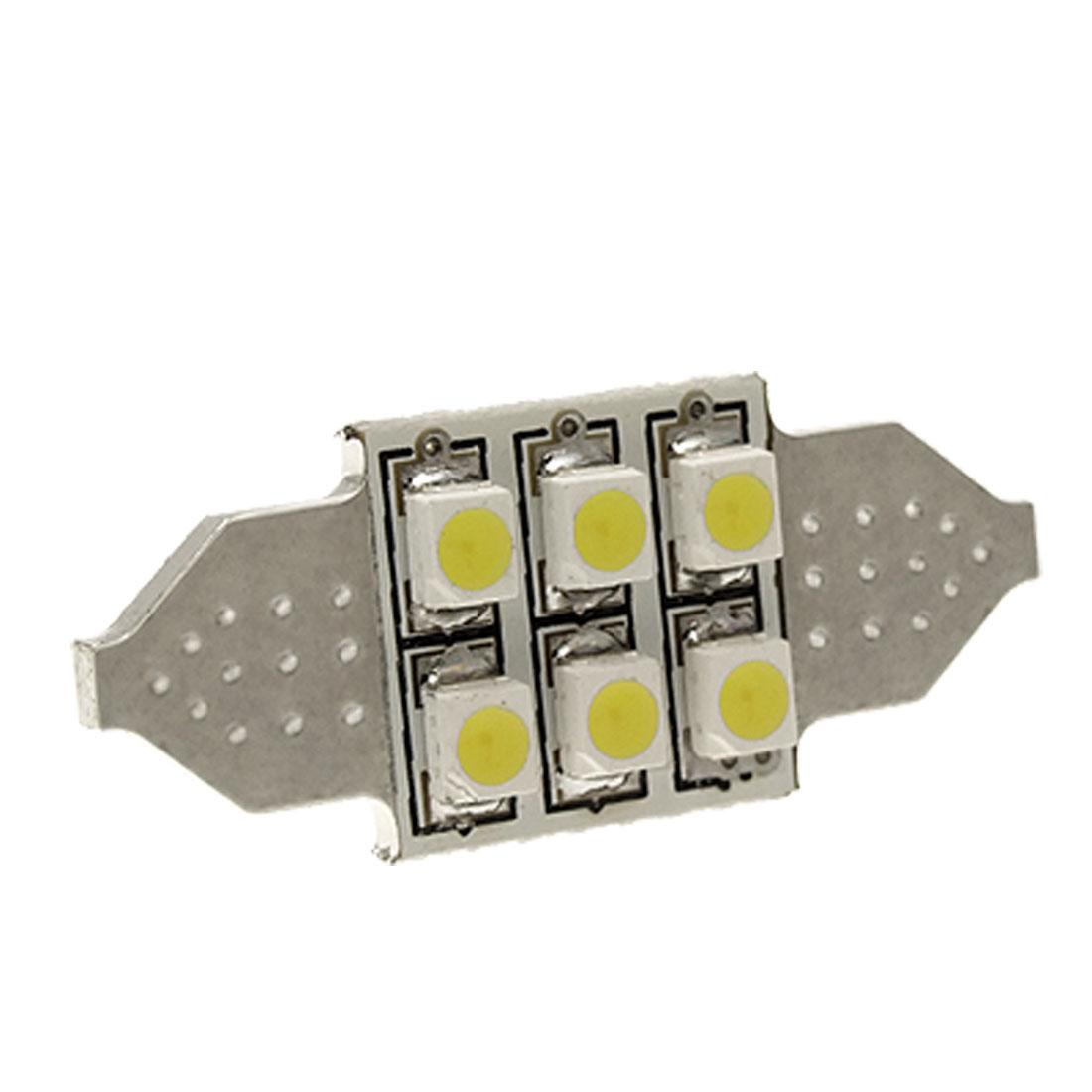 "12V White 6-LED 1.25"" 31mm DE3175 DE3022 LED Bulbs For Car Interior Dome Lights"
