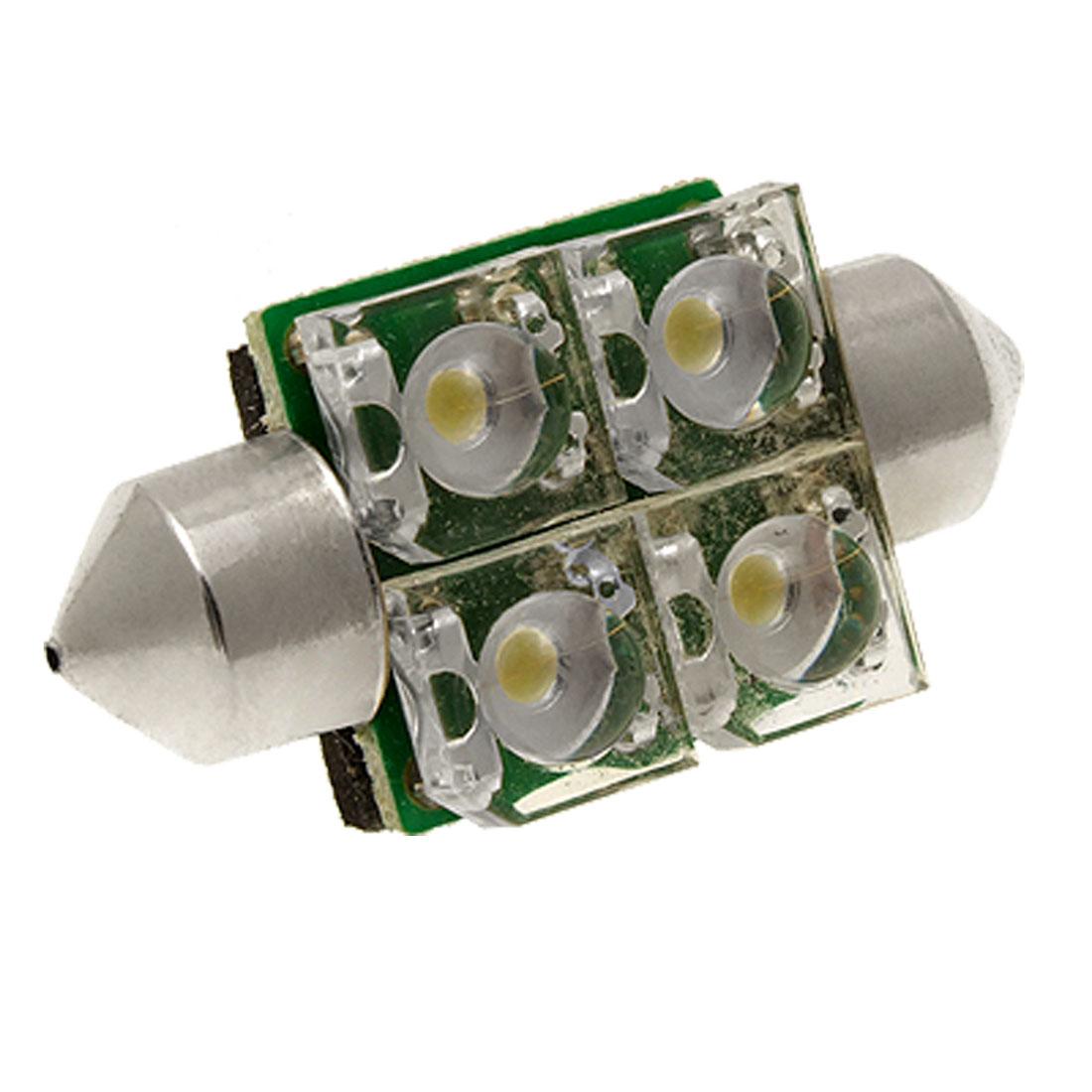 4 LED White Car Auto Bulbs 34mm Dome Light Lighting Lamp internal