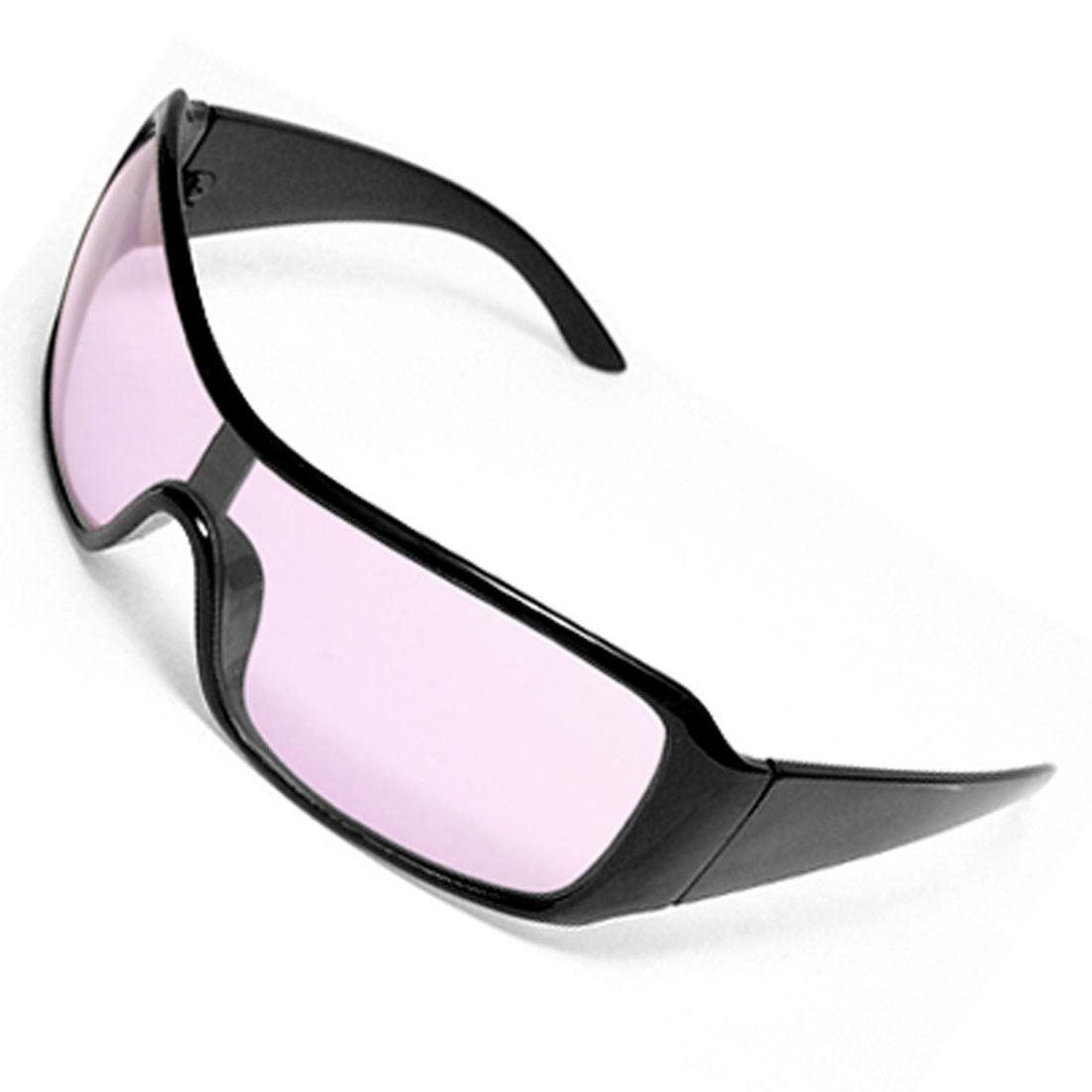 Black Frame Wide Purple Lens Plastic Ladies' Sunglasses Eyewear