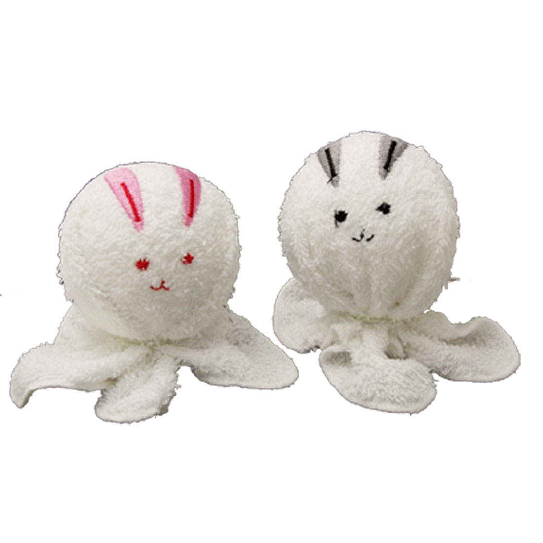 Pair Couple Rabbits Towel Made Gift Desk Decoration