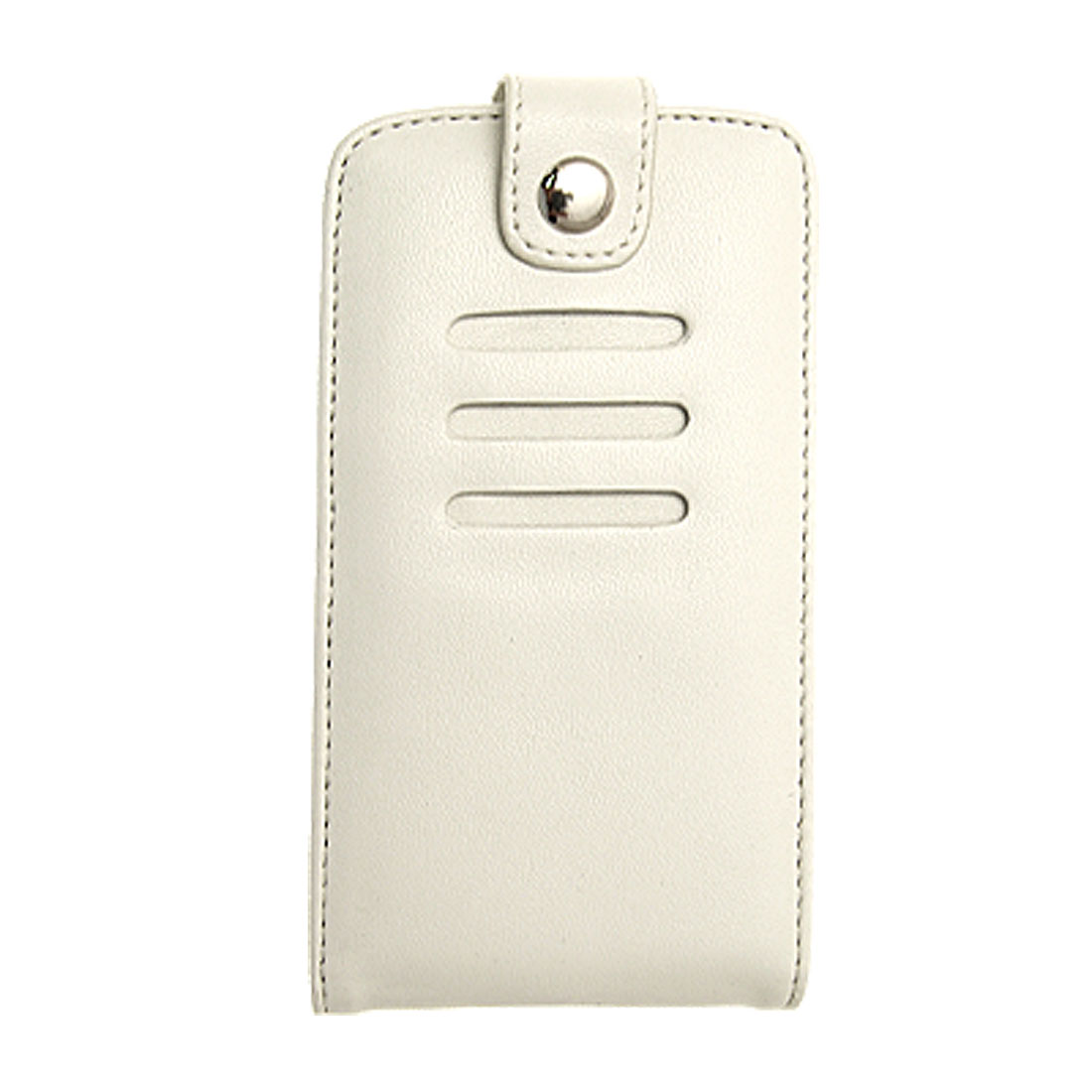 White Fastener Leather Case Cover w Belt Clip for iPhone 3G