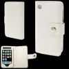 Wallet Style Fastener White Leather Case Cover for iPhone 3G