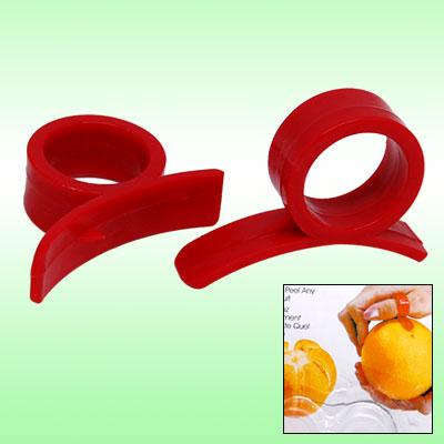 2PCS Red Hard Plastic Orange Citrus Fruit Peelers