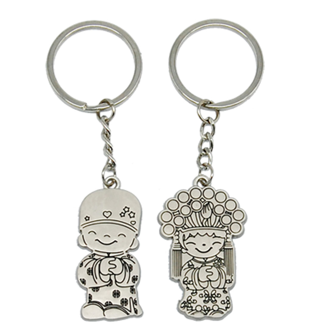 Bridegroom Bride Couple Key Chain Ring Keychain Set