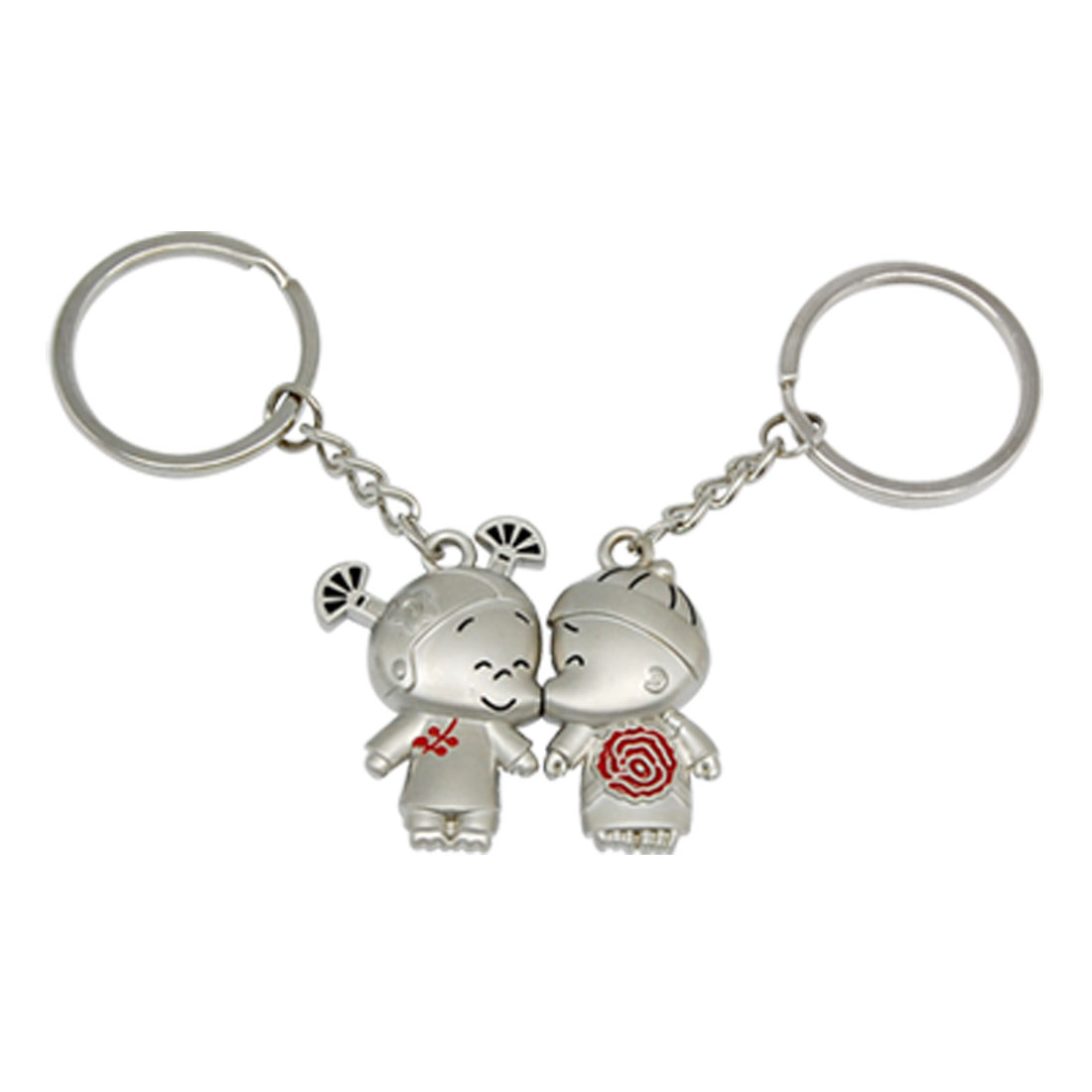 Kissing Couple Keychain Magnetic Key Chain Ring Set