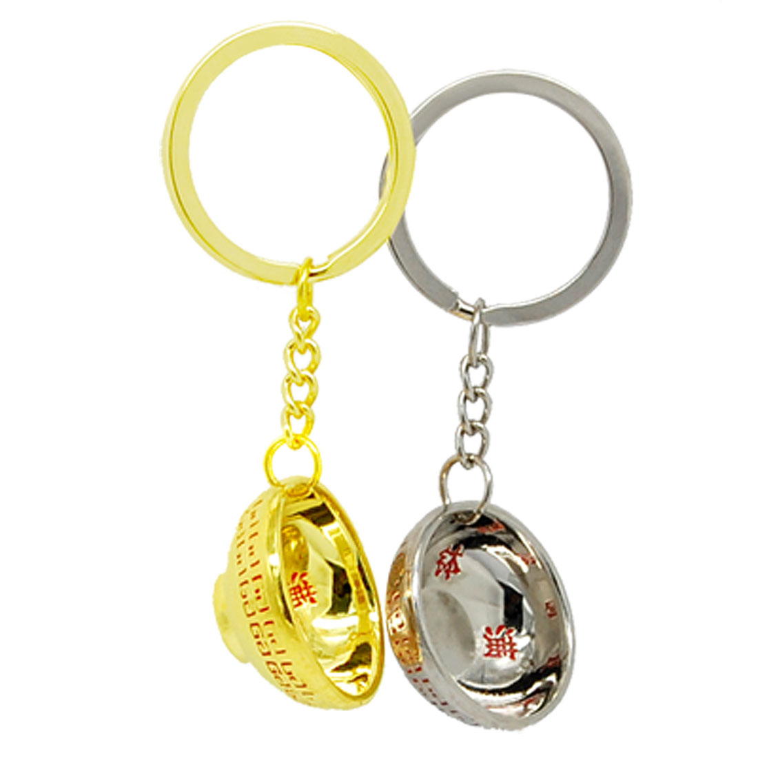 Golden Silvery Bowl Pendant Keychain Key Ring Chain Set