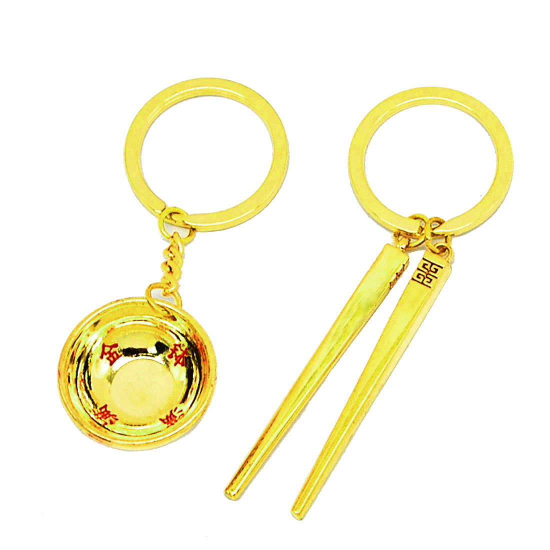 Golden Chopsticks Keychain Bowl Key Ring Chain Set