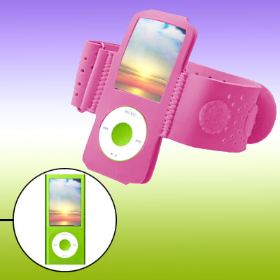Pink Hook and Loop Fastener Armband for iPod Nano Chromatic 4G 4th Gen