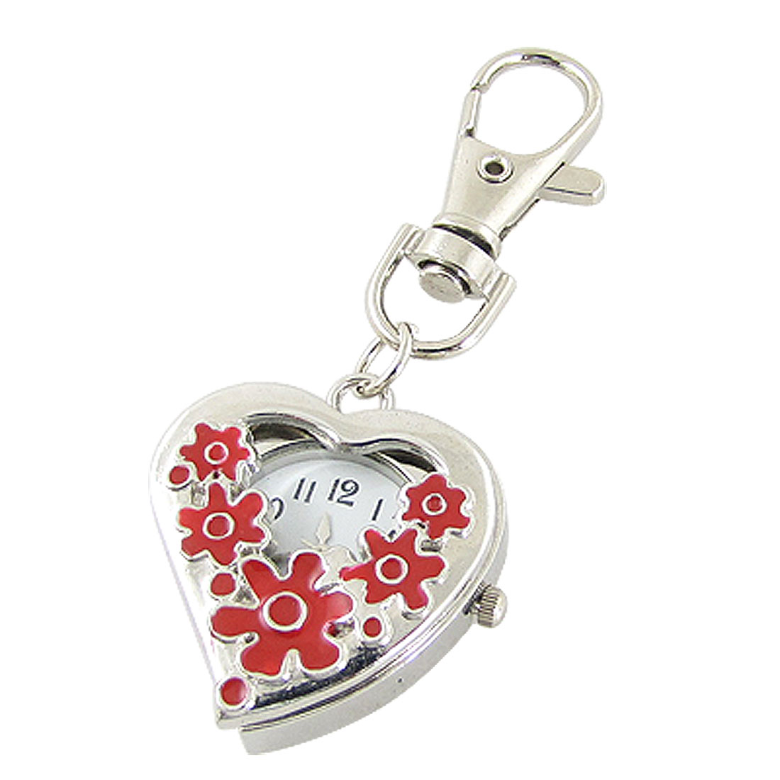 Red Flower Hunter Case Heart Shaped Pocket Quartz Watch