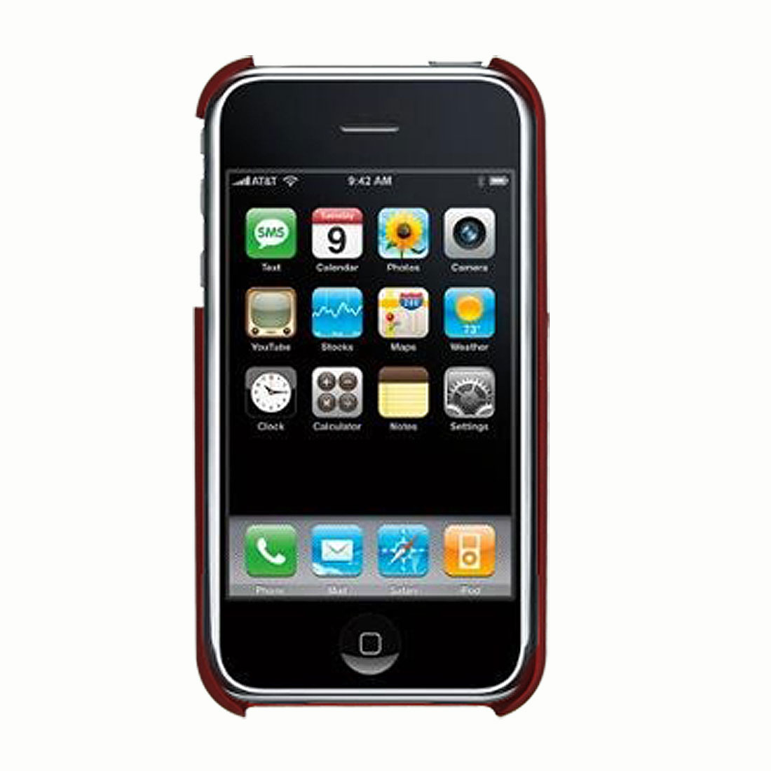 Crimson Hard Plastic Back Case w/ Flame Pattern for iPhone 3G and 3G S