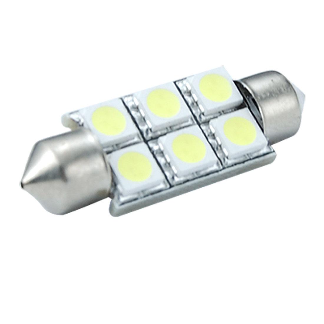 Car 37mm 6 5050 SMD Festoon Dome LED Bulb White Light
