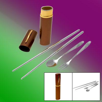 Brown Case Stainless Steel Cutlery Spoon Chopsticks Fork Tableware