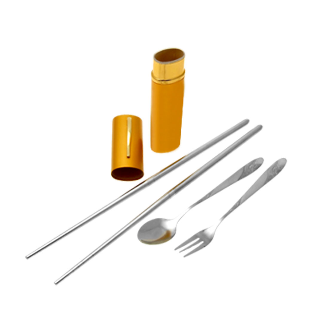Yellow Case Portable Dishware Chopsticks Spoon Fork Tableware Set