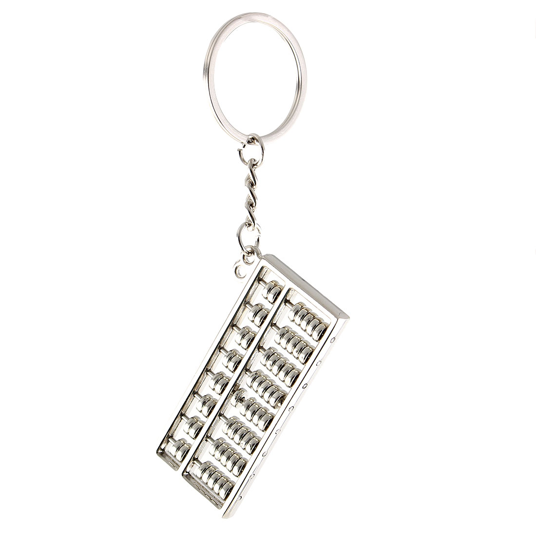 Metal Abacus Mini Roll Pendant Key Chain Ornament Decr Keyring Silvery Tone