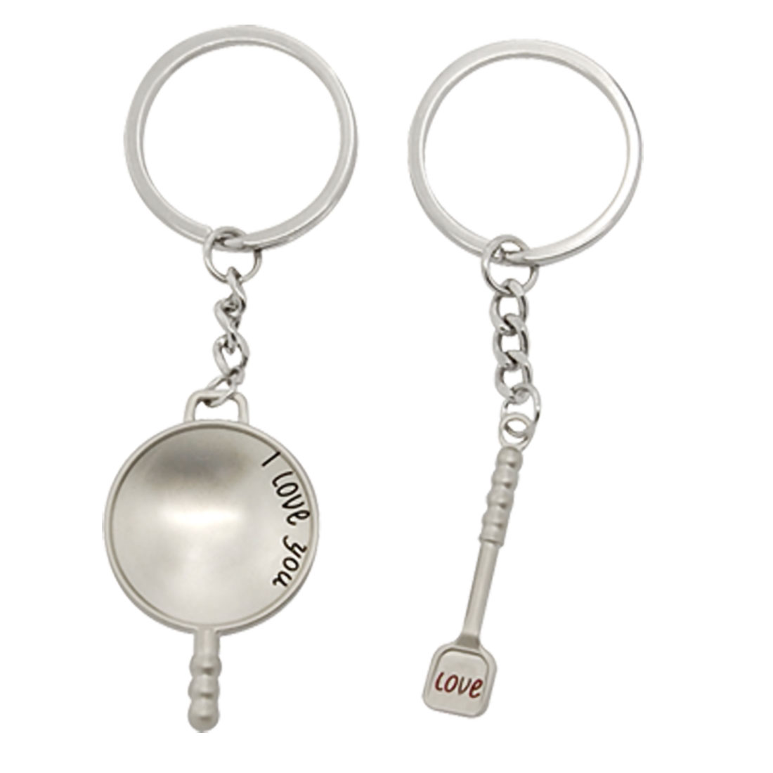 Mini Couple Silvery Wok Boiler Spade Metal Key Ring Chain