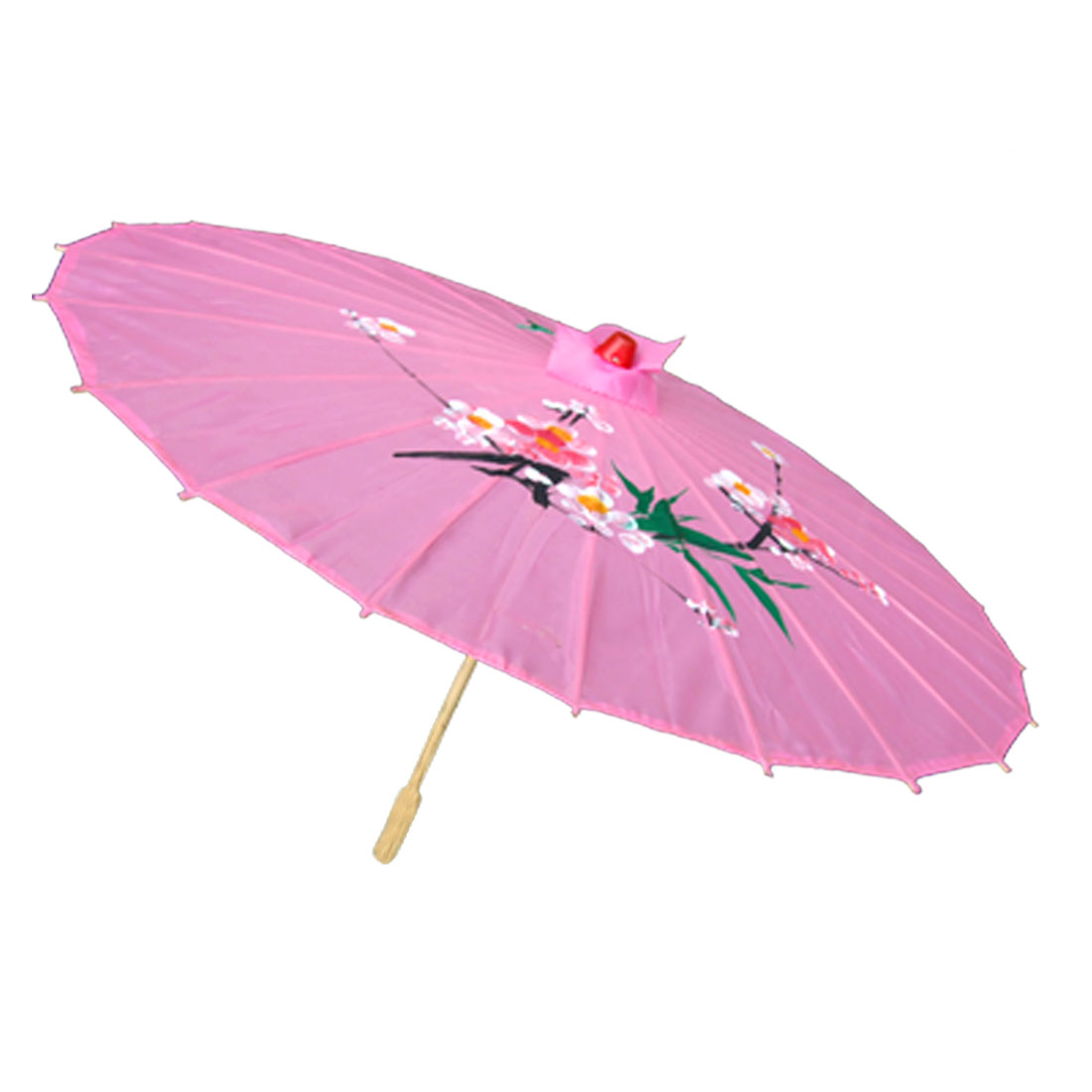 Pink Elegant Rain Sun Umbrella for Ladies Flower Leafage Pattern