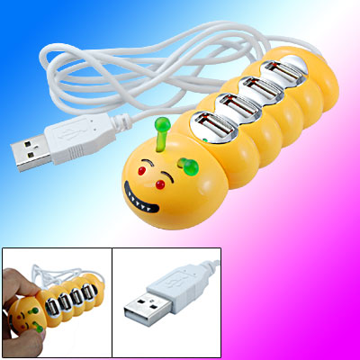 Caterpillar 4 Port USB 2.0 Hub Yellow for Laptop Computer