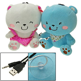 2PCS Couple Cute Plush Doll 3.5mm USB Sound Box Speaker