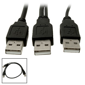 USB 2.0 AM Male to 2 AM Male Extension Splitter Wire Line
