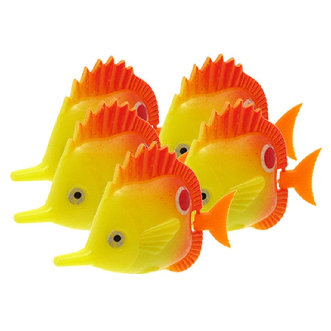 Stylish Yellow Plastic Floating Fish Ornament for Aquarium