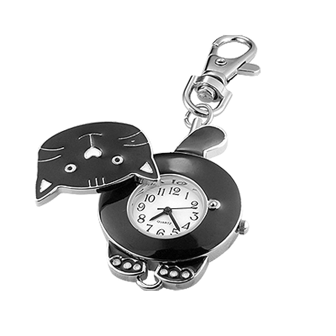 Black Lovely Cat Shaped Unique Key Chain Watch