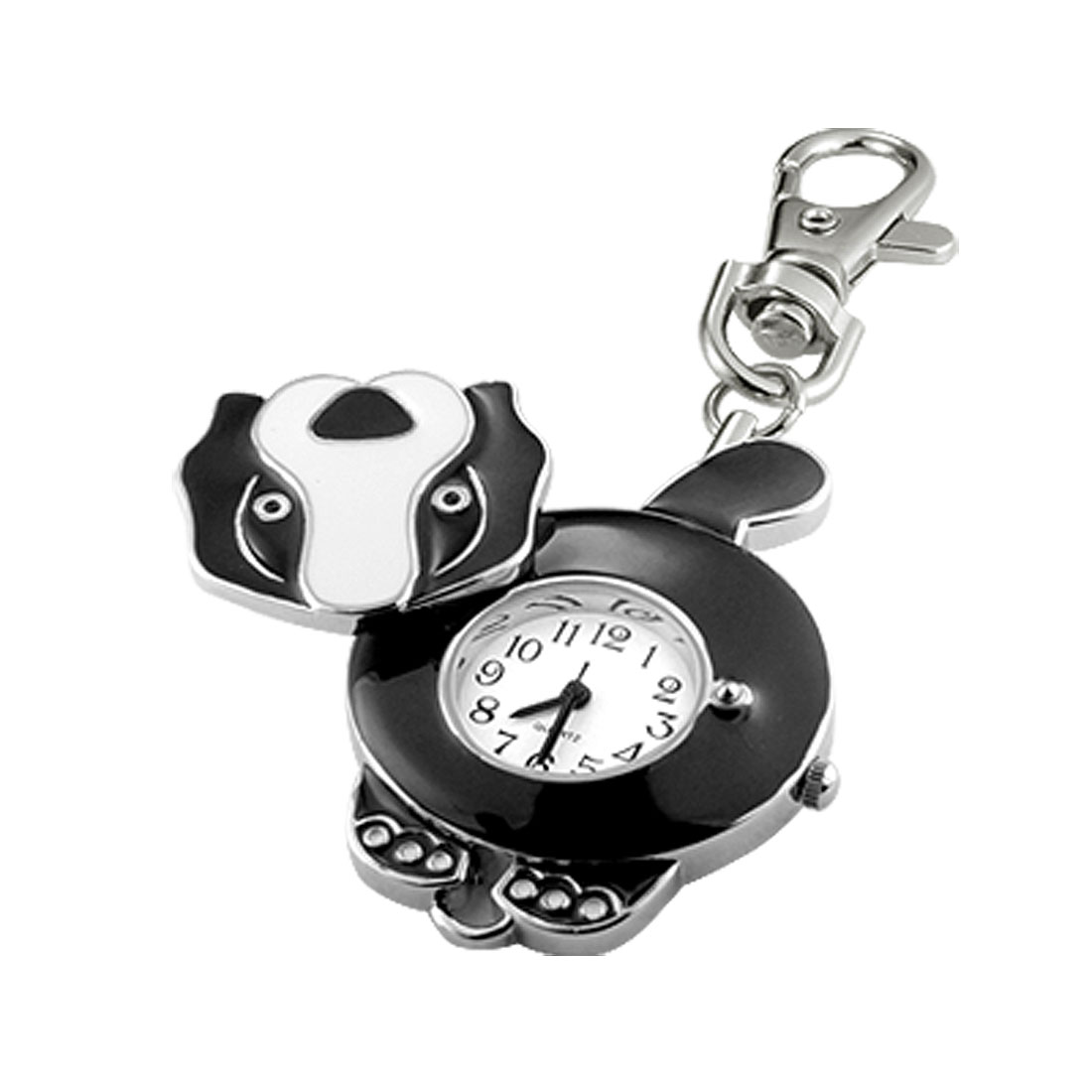 Cute Black Dog Shaped Key Chain Clip Watch