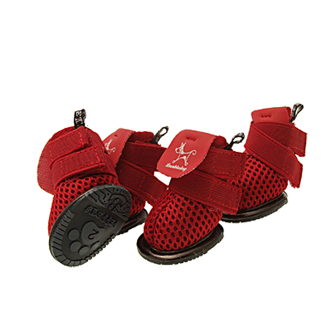 Red Pet Boots Anti-slip Sport Sneakers Apparel Size #2 Dog Shoes