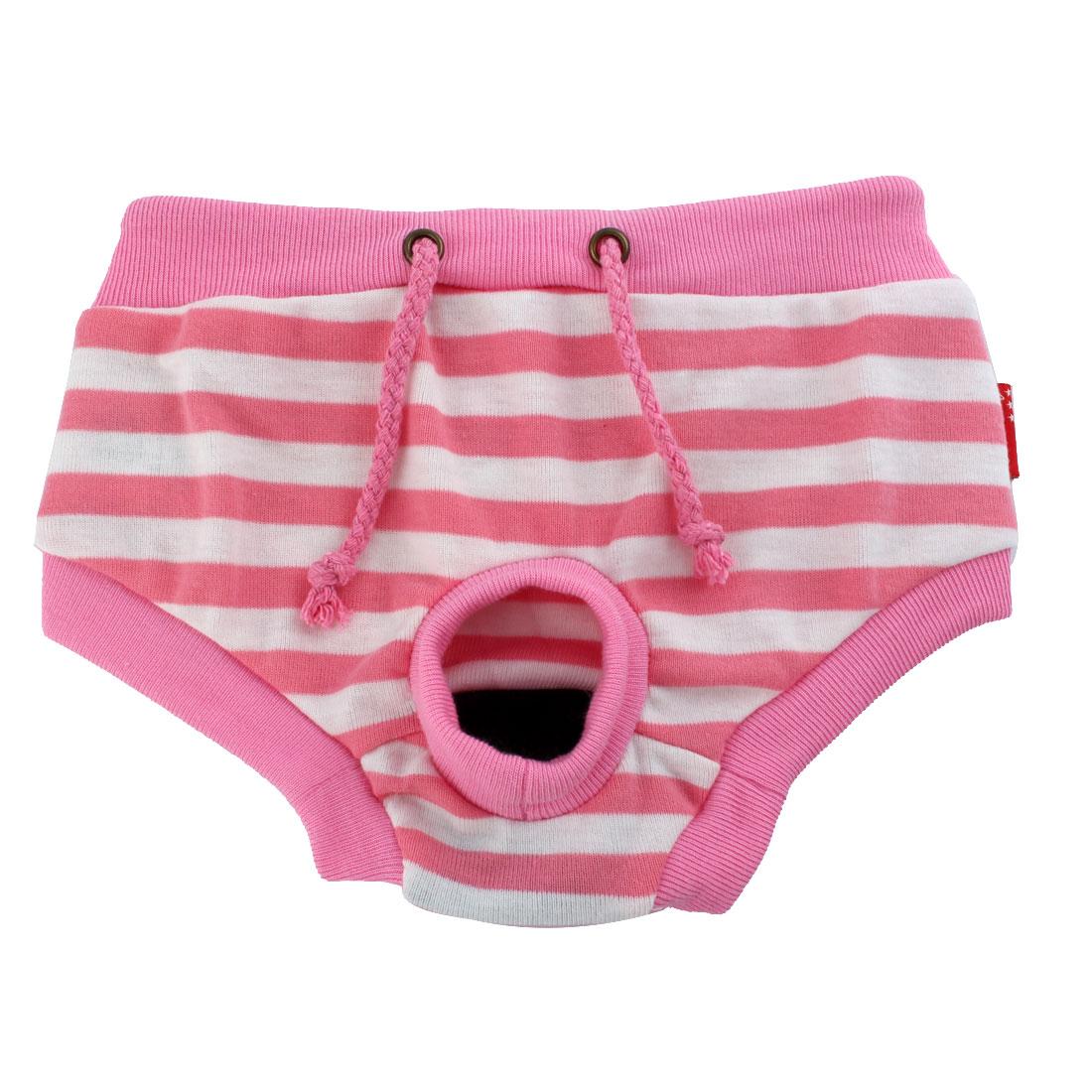 Pet Dog Apparel Pink Physiological Sanitary Menstrual Diaper Pants Size L