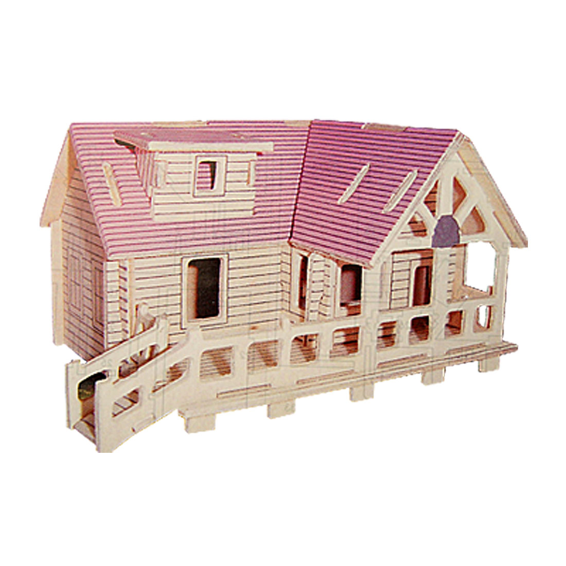 Stylish Educational 3D Jigsaw Villa Model Wooden Puzzle Toy
