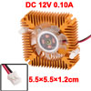 Copper Plated 55mm 2 Terminal VGA Video Card Heatsink Cooler Cooling Fan